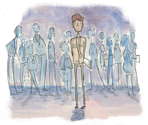 An attendee in a sea of strangers, Illustration by Jake Goldwasser